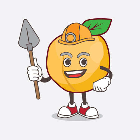 A picture of Apricot cartoon mascot character as cool miner