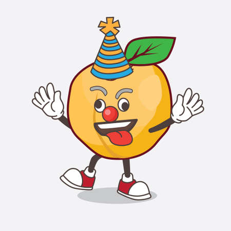 A picture of Apricot cartoon mascot character as funny clown