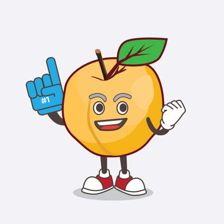 A picture of Apricot cartoon mascot character holding a Foam finger  イラスト・ベクター素材