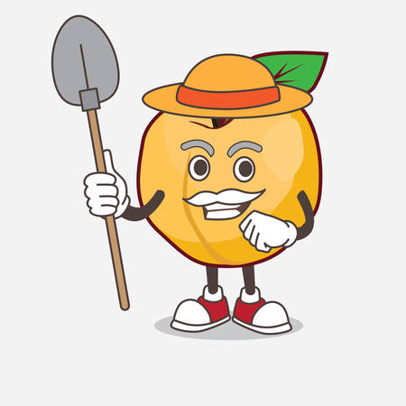 A picture of Apricot cartoon mascot character with hat and farmer tools