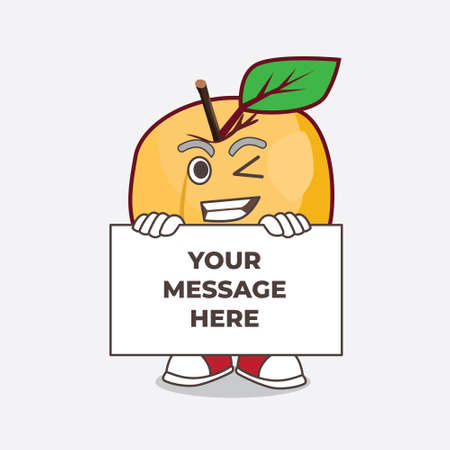 A picture of Apricot cartoon mascot character with funny face hides behind a board Ilustração