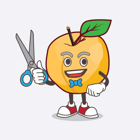A picture of Apricot cartoon mascot character as smiling barber with scissors on hand  イラスト・ベクター素材