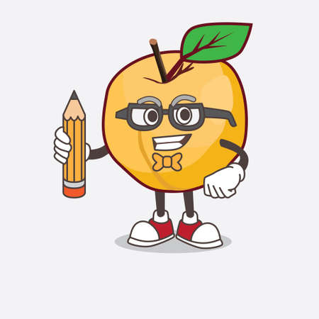 A picture of Apricot cartoon mascot character holding pencil