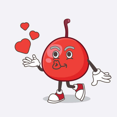A picture of Red Berry cartoon mascot character teasing with heart kiss