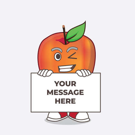 A picture of Honeycrisp Apple cartoon mascot character with funny face hides behind a board