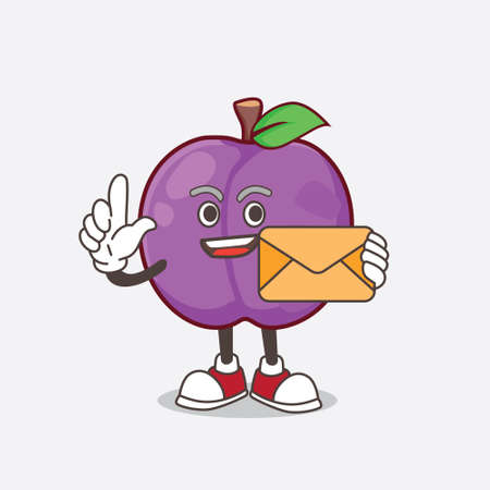 A picture of Plum Fruit cartoon mascot character holding an envelope