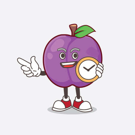 A picture of Plum Fruit cartoon mascot character holding a clock