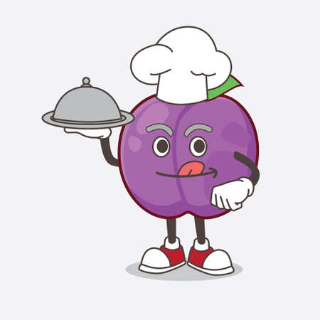 A picture of Plum Fruit cartoon mascot character as a Chef with food on tray ready to serve