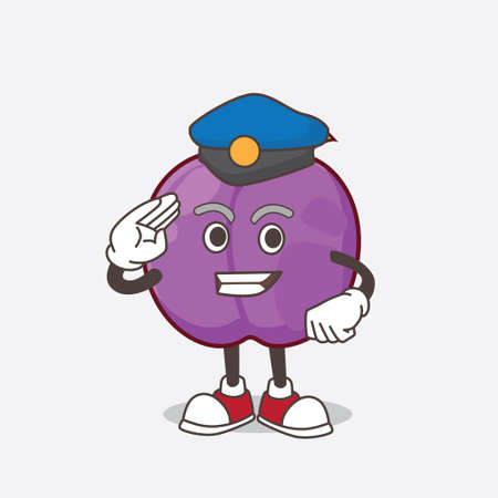 A picture of Plum Fruit cartoon mascot character working as a Police officer
