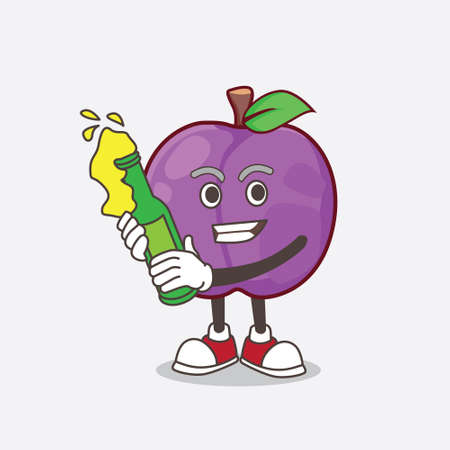 A picture of Plum Fruit cartoon mascot character holding a beer 矢量图像