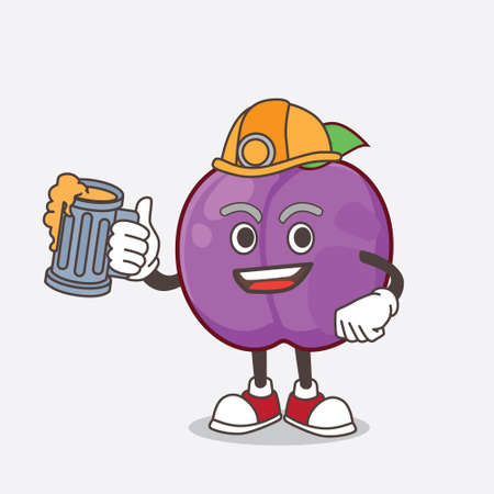 A picture of Plum Fruit cartoon mascot character holding a glass of beer 矢量图像