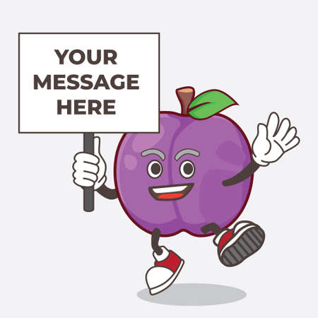A picture of Plum Fruit cartoon mascot character with board sign message
