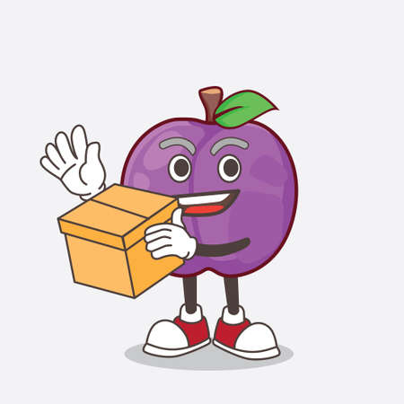 A picture of Plum Fruit cartoon mascot character holding a box