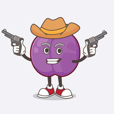A picture of Plum Fruit cartoon mascot character holding guns