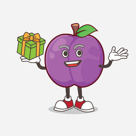 A picture of Plum Fruit cartoon mascot character with a box of gift 矢量图像