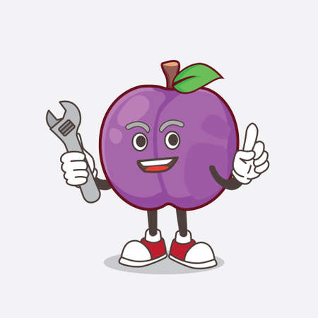 A picture of Plum Fruit cartoon mascot character as happy mechanic 矢量图像