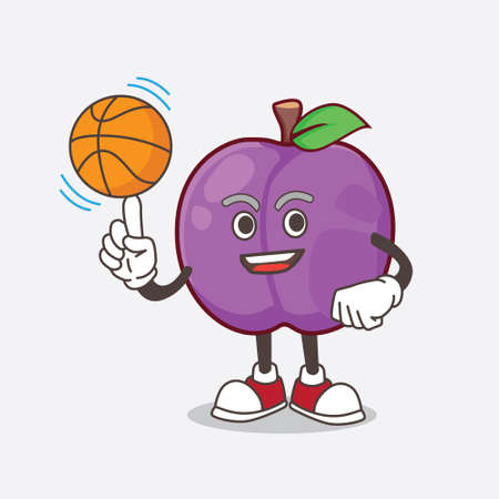 A picture of Plum Fruit cartoon mascot character with a basketball
