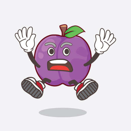 A picture of Plum Fruit cartoon mascot character with shocking gesture