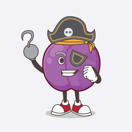 A picture of Plum Fruit cartoon mascot character in pirate style and wearing hat