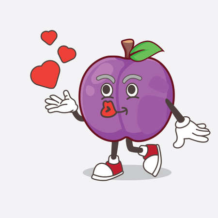 A picture of Plum Fruit cartoon mascot character teasing with heart kiss
