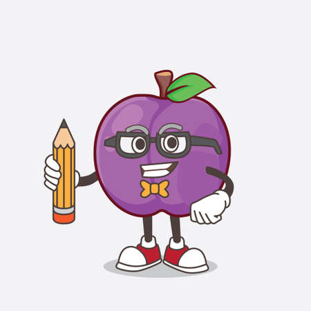 A picture of Plum Fruit cartoon mascot character holding pencil