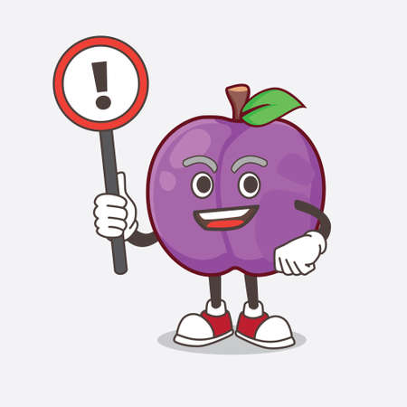 A picture of Plum Fruit cartoon mascot character rise up a warning sign