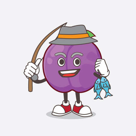 A picture of Plum Fruit cartoon mascot character fishing with 2 fishes