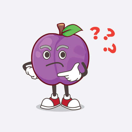 A picture of Plum Fruit cartoon mascot character in a confused gesture