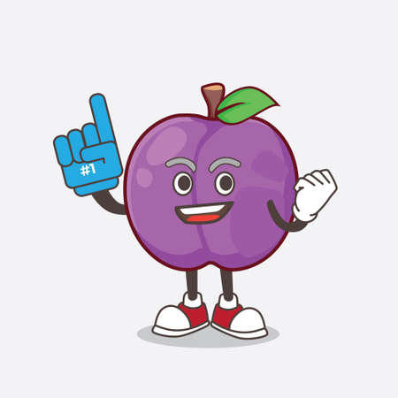 A picture of Plum Fruit cartoon mascot character holding a Foam finger