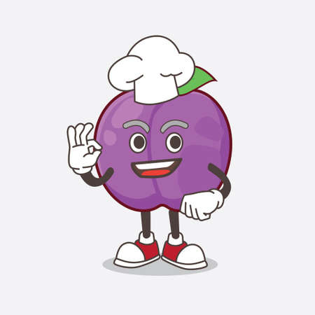 A picture of Plum Fruit cartoon mascot character in a chef dress and white hat