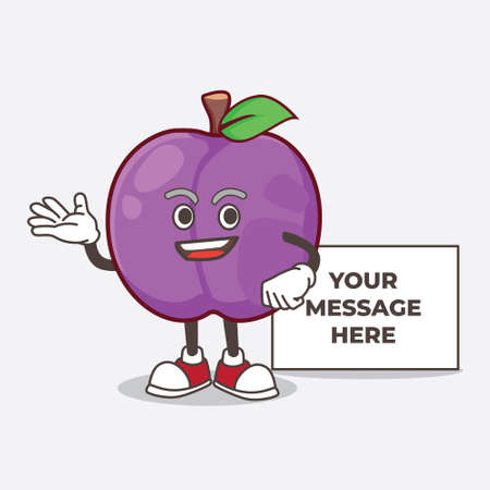 A picture of Plum Fruit cartoon mascot character with whiteboard