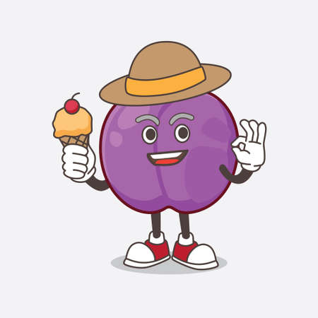 A picture of Plum Fruit cartoon mascot character holding ice cream