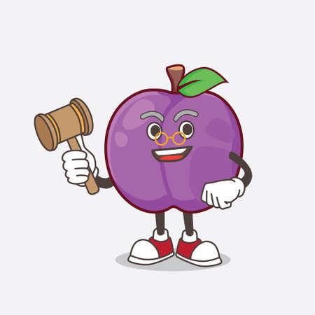 A picture of Plum Fruit cartoon mascot character as wise judge