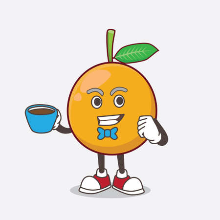 A picture of African Mangosteen cartoon mascot character with a cup of coffee Illustration