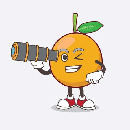 African Mangosteen cartoon mascot character using a monocular Illustration