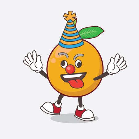 African Mangosteen cartoon mascot character as funny clown