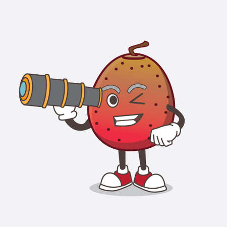 A picture of Indian Fig cartoon mascot character using a monocular Ilustrace
