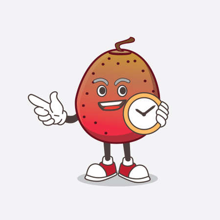 A picture of Indian Fig cartoon mascot character holding a clock