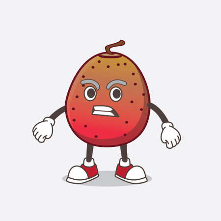 A picture of Indian Fig cartoon mascot character with angry face