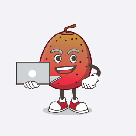 A picture of Indian Fig cartoon mascot character working with laptop Ilustrace