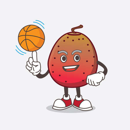 A picture of Indian Fig cartoon mascot character with a basketball Ilustrace