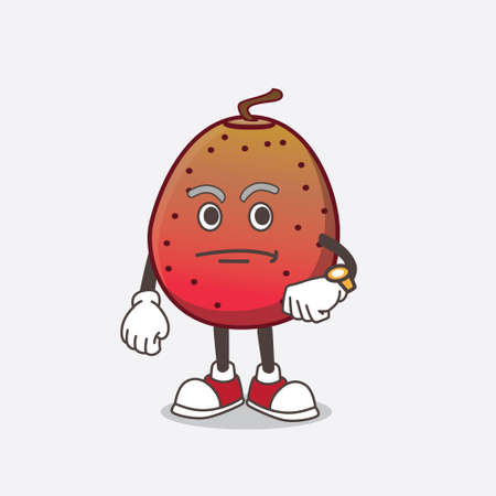A picture of Indian Fig cartoon mascot character on a waiting gesture