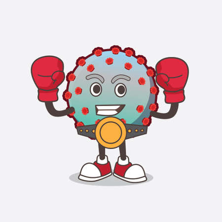 A picture of Virus cartoon mascot character in sporty boxing style