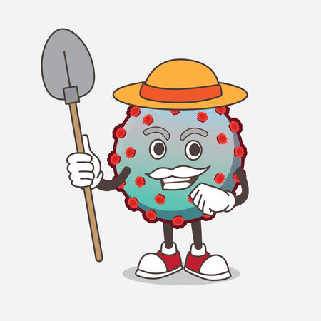 A picture of Virus cartoon mascot character with hat and farmer tools