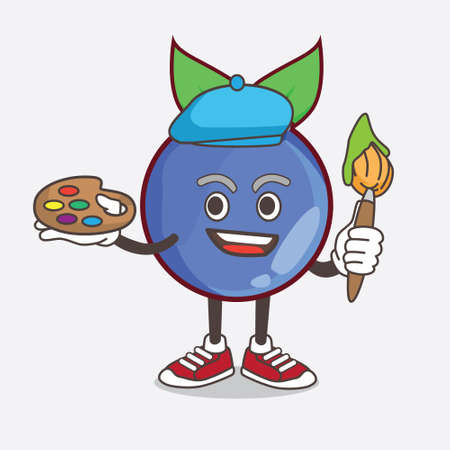 An illustration of Blueberry Fruit cartoon mascot character painter style with art brush