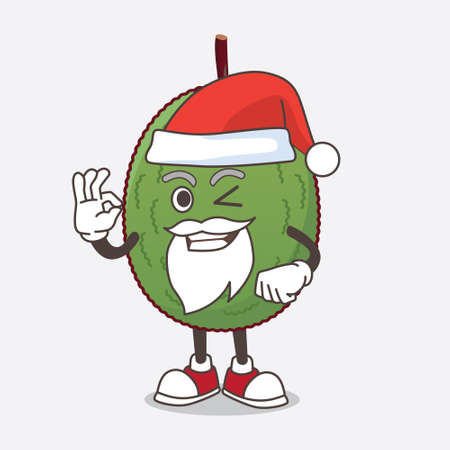 A picture of Jackfruit cartoon santa mascot character with ok finger