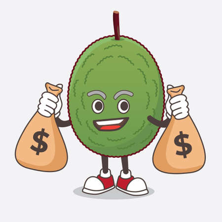 A picture of Jackfruit cartoon mascot character holding money bags