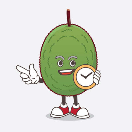 A picture of Jackfruit cartoon mascot character holding a clock