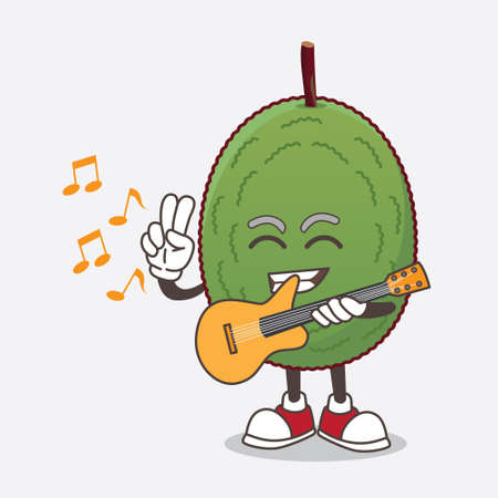 A picture of Jackfruit cartoon mascot character playing a guitar