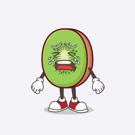 A picture of Kiwi Fruit cartoon mascot character with crying expression